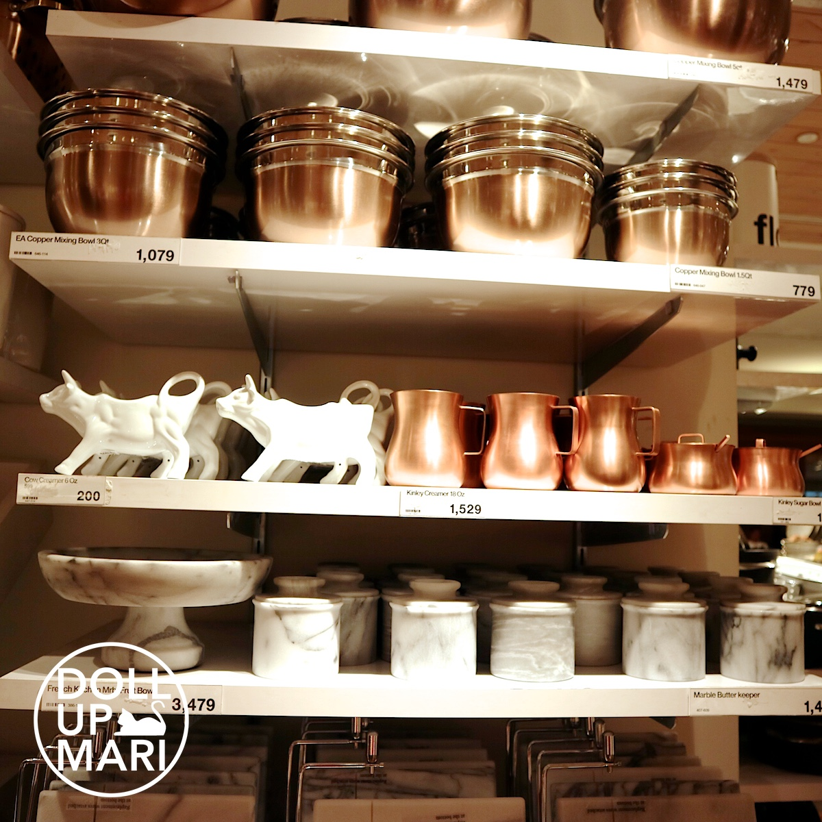 Crate and Barrel Copper Bowls and Milk Jar with Marble Jar and Cow Creamer