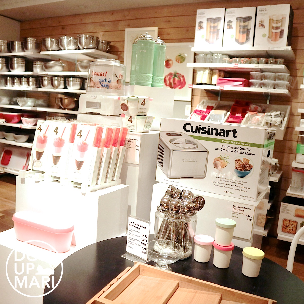 Crate and Barrel Scoopers, Cups, and Cuisinart Ice Cream Maker