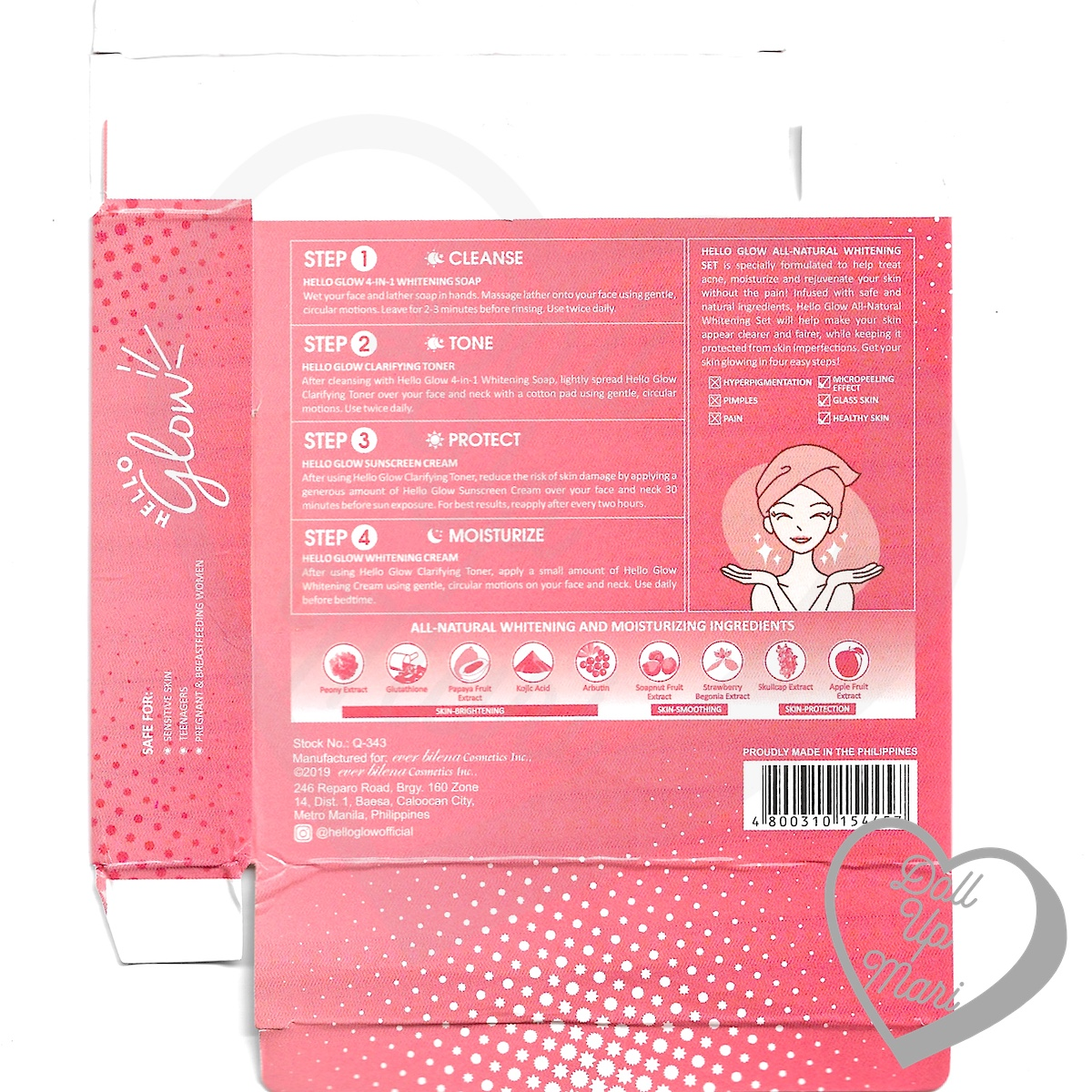 Hello Glow by Ever Bilena Box Rear Scan featuring ingredients, directions, and product information.