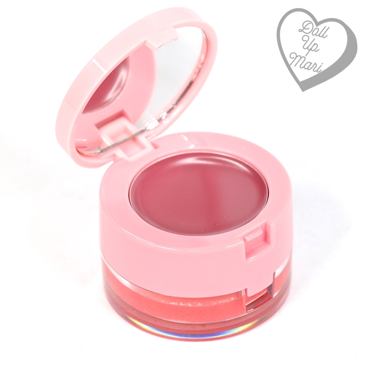 Tub Opened with Lip Balm being shown of Tulip Shade of BLK Cosmetics Sweet Lip Duo Lip Balm and Lip Scrub