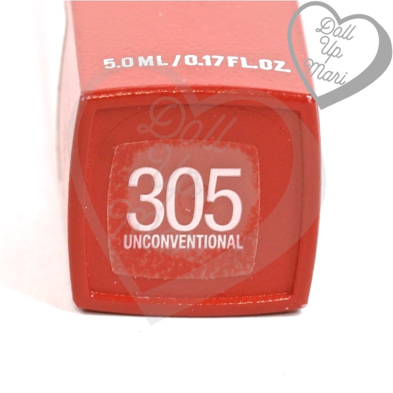 tube bottom of 305 Unconventional shade of Maybelline Superstay Matte Ink Liquid Lipstick Rogue Reds collection