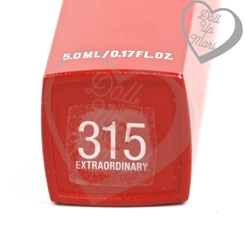 tube bottom of 315 Extraordinary shade of Maybelline Superstay Matte Ink Liquid Lipstick Rogue Reds collection