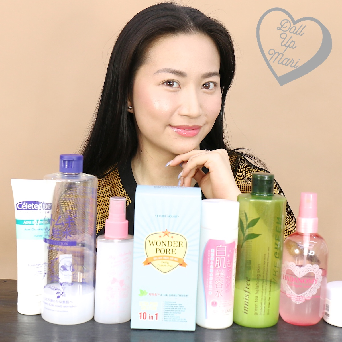 Posing with my current skincare products