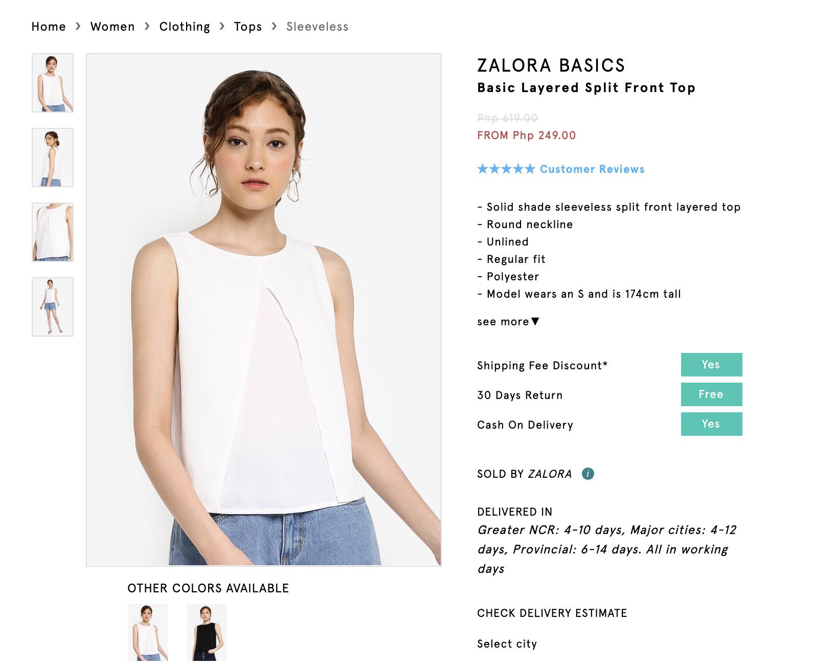 Screenshot of Zalora Basics Basic Layered Split Top