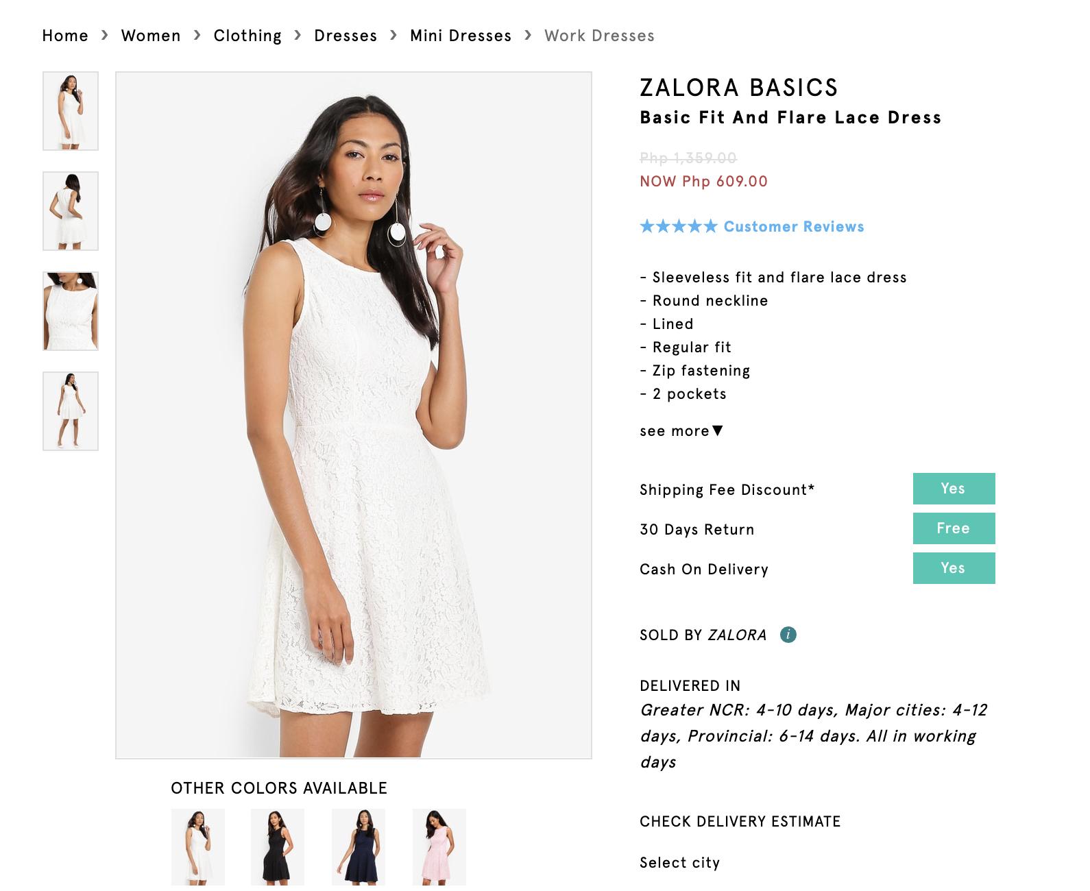 Screenshot of Zalora Basics Basic White Dress