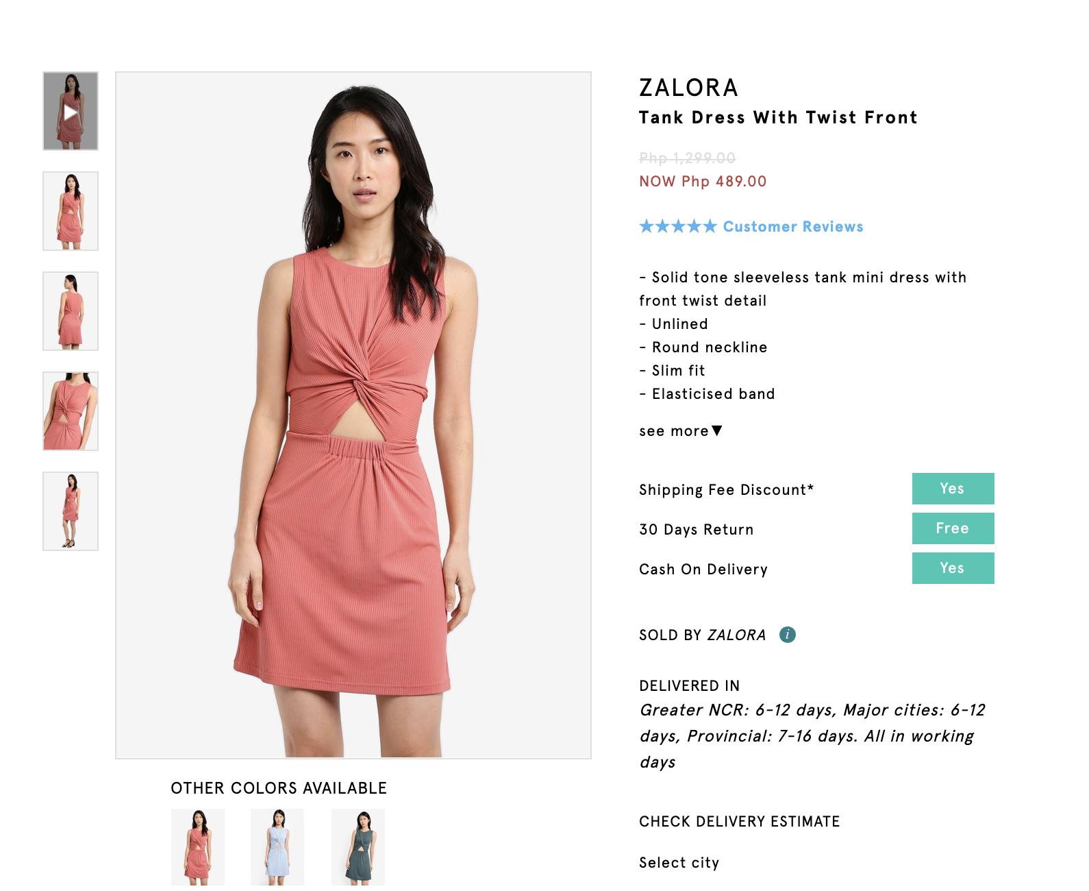 Screenshot of Zalora Basics Tank Dress with Twist Front