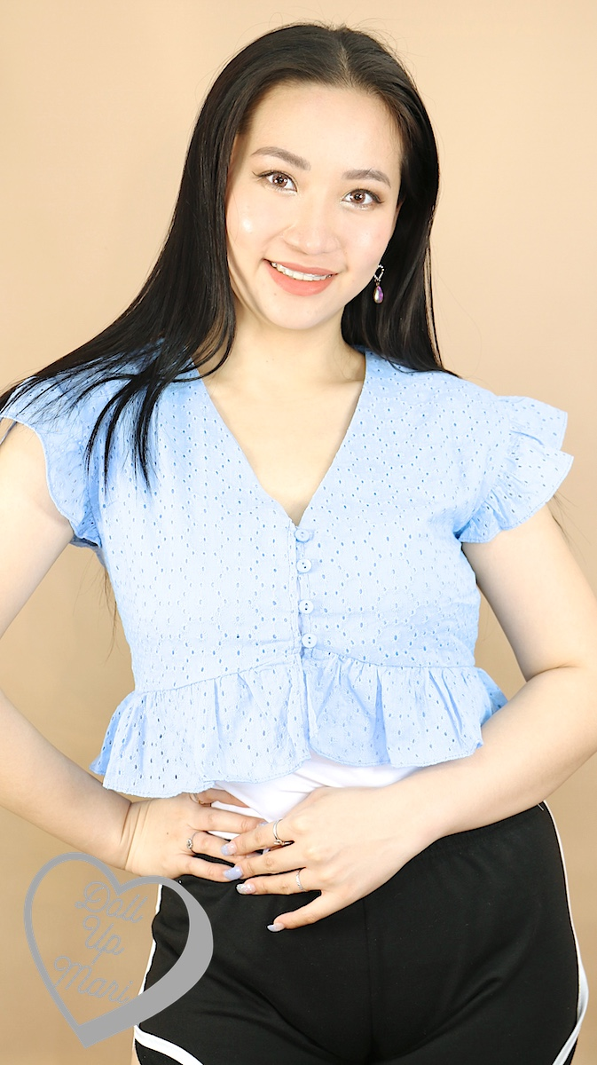 Wearing Zalora Young Cotton Eyelet Button Crop Top