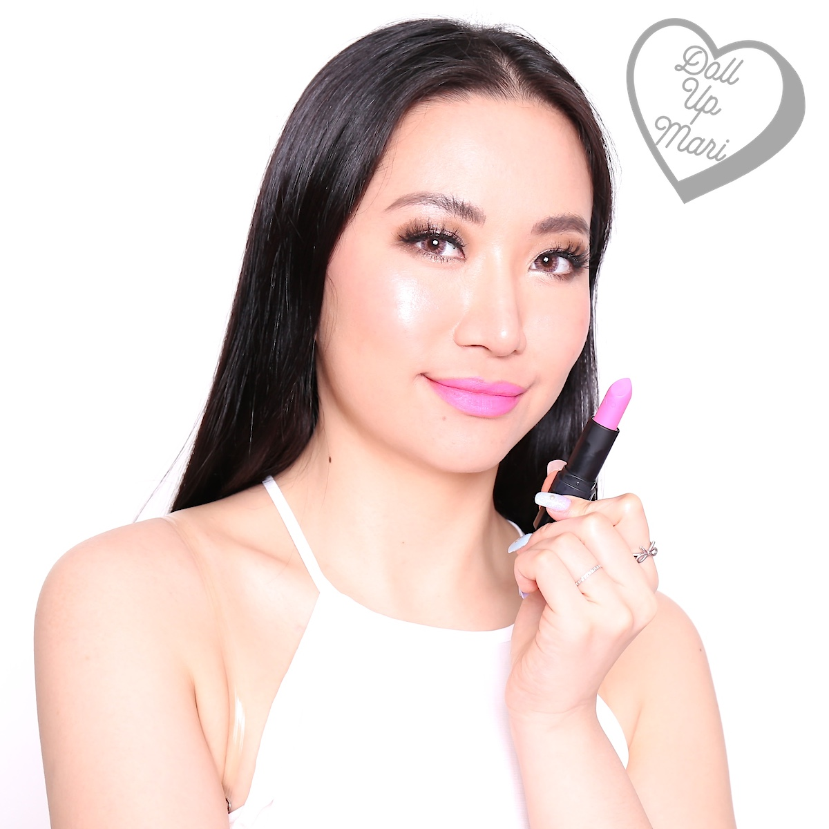 Wearing Electric Pink shade of AVON Perfectly Matte Lipstick