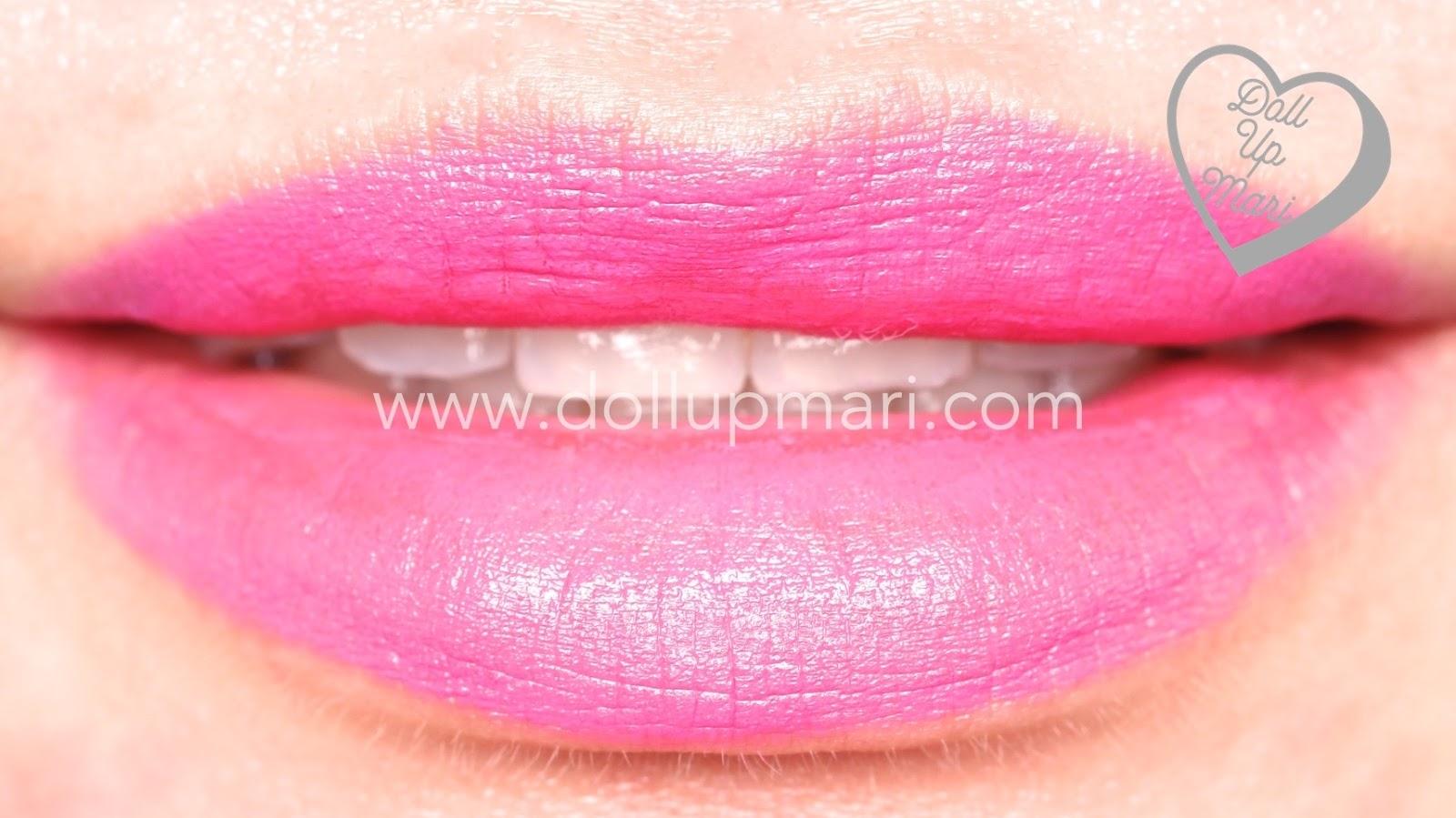 lip swatch of Splendidly Fuchsia shade of AVON Perfectly Matte Lipstick