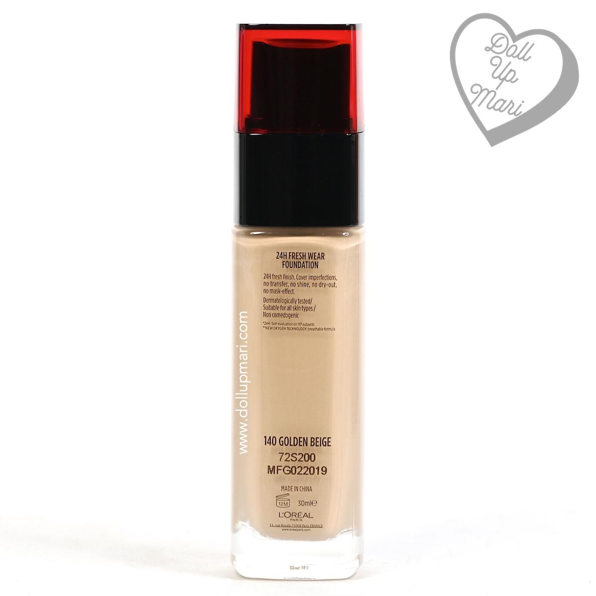 Bottle Rear L'Oréal Paris Infallible 24HR Fresh Wear Liquid Foundation SPF25PA+++ in shade Golden Beige