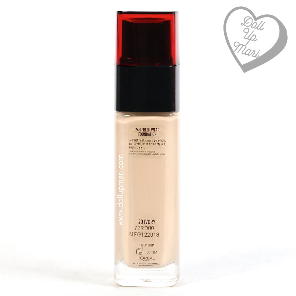 Bottle rear of L'Oréal Paris Infallible 24HR Fresh Wear Liquid Foundation SPF25PA+++ in shade Ivory