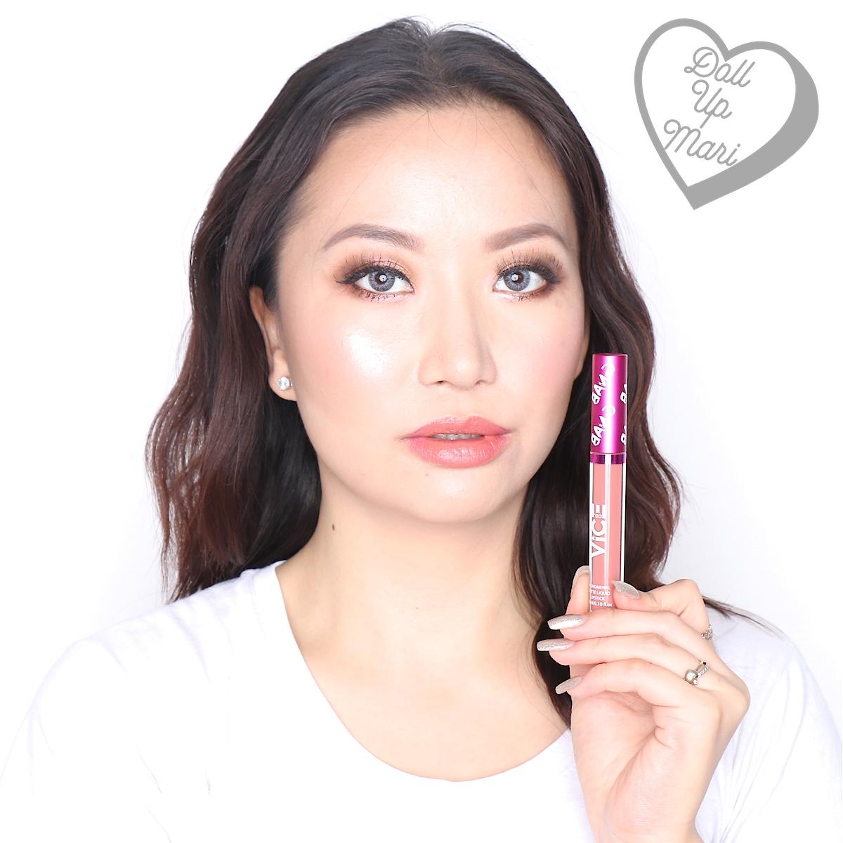 Mari wearing the Matte Liquid Lipstick of the Mowdel set of Vice X Bang Lip set collection