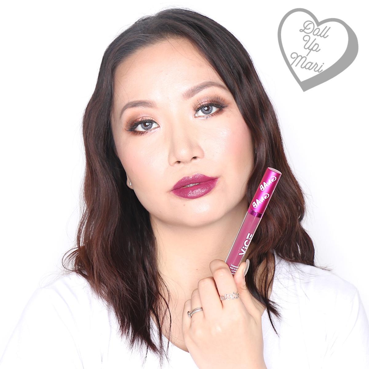 Mari wearing the Matte Liquid Lipstick of the Rrrahmpa set of Vice X Bang Lip set collection