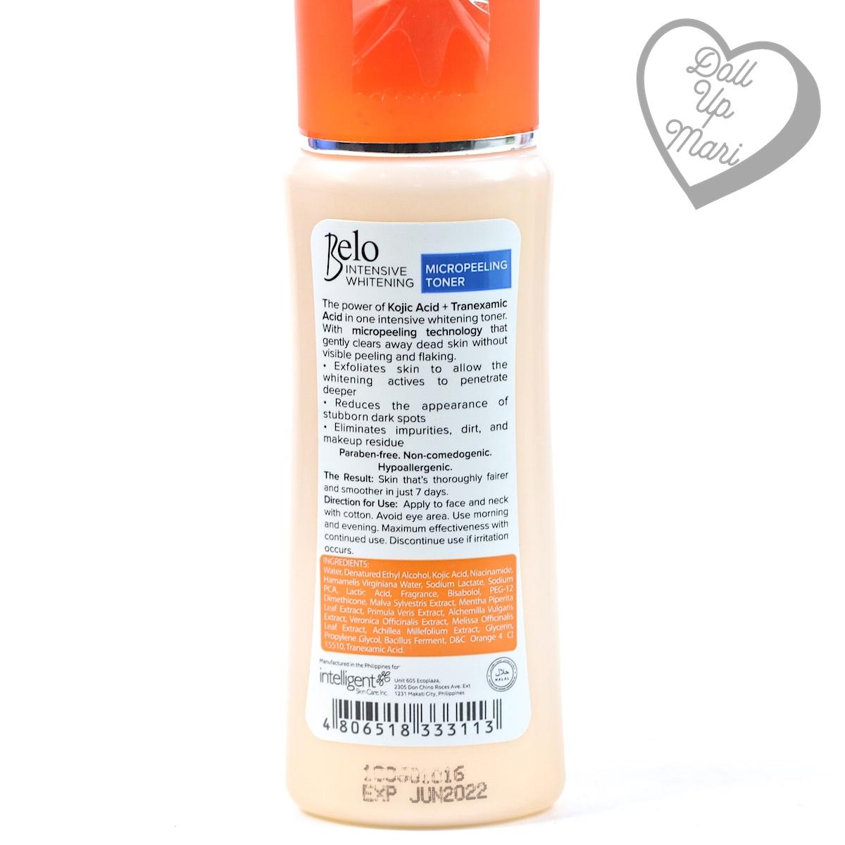 Belo Intensive Whitening Micropeeling Toner Bottle Rear