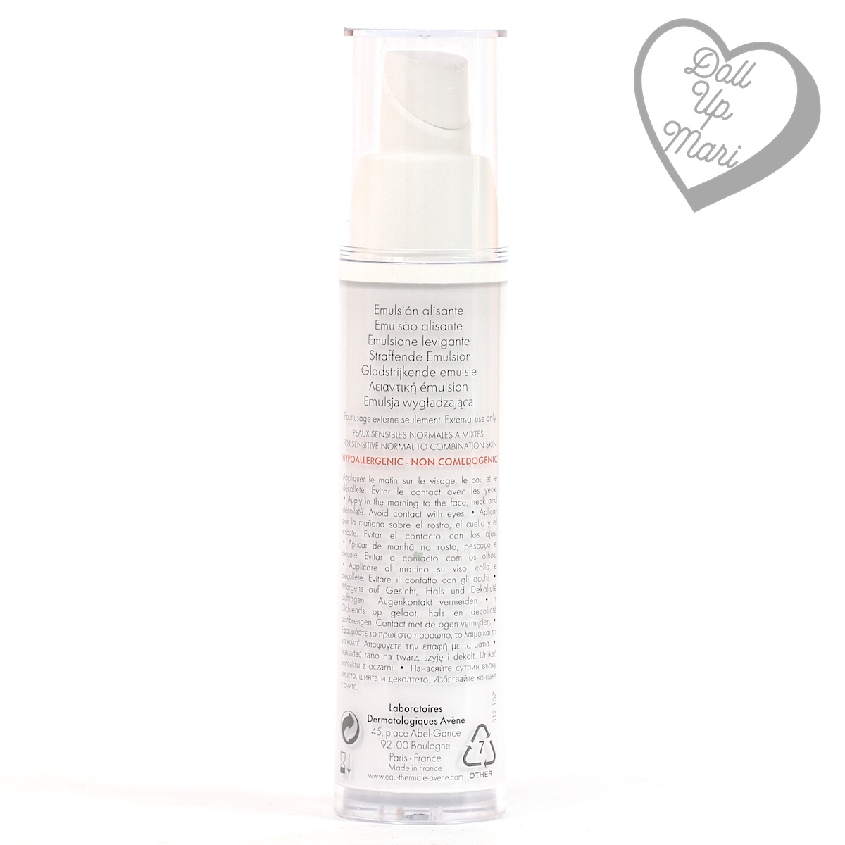 Bottle rear of Avène PhysioLift Day Smoothing Emulsion
