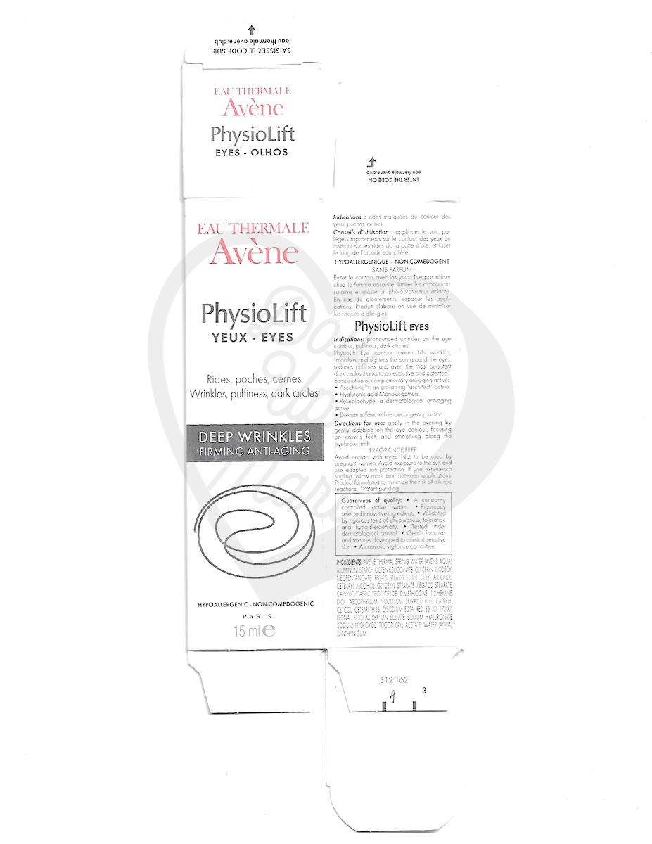 Box Scan of Avène PhysioLift Eye Contour Cream