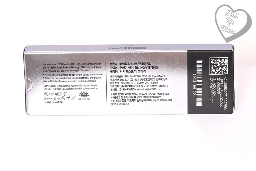 Olens Russian Smoky Contact Lens (Gray) Box Rear