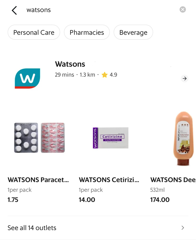Watsons Search Result On GrabMart