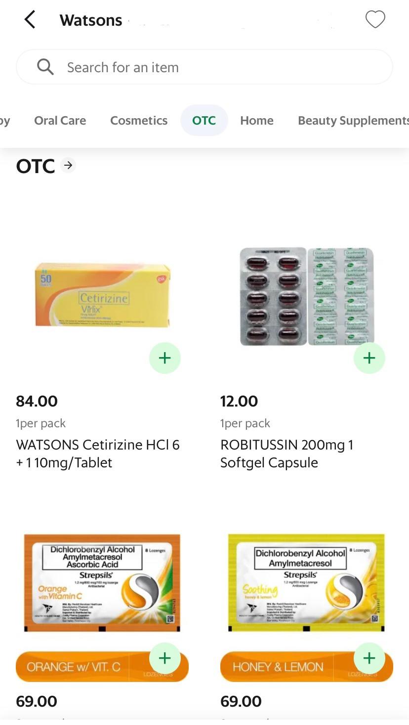 Watsons OTC Selection On GrabMart